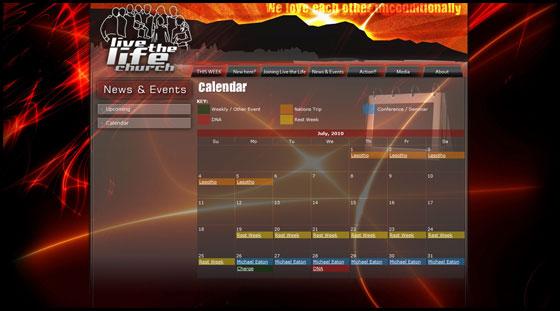 Live the Life Church - Full calendar view
