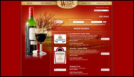 Wine and Company, Wine selection page